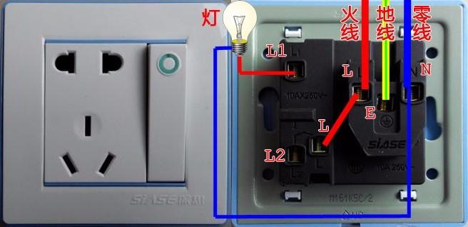 急!开关上的火线和插座上零线接灯以后为什么跳闸